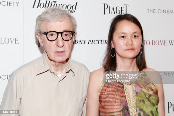 Director Woody Allen and wife SoonYi Previn attend The Cinema Society with the Hollywood Reporter Piaget and Disaronno screening of 'To Rome With...