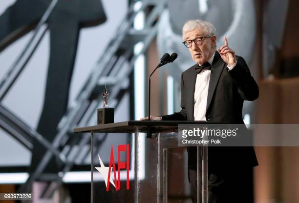 Director Woody Allen speaks onstage during American Film Institute's 45th Life Achievement Award Gala Tribute to Diane Keaton at Dolby Theatre on...