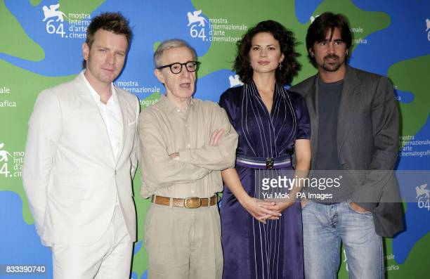 Director Woody Allen with his cast Ewan McGregor Hayley Atwell and Colin Farrell during a photocall for the film 'Cassandra's Dream' at the Venice...