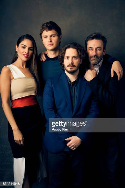 Director/ Writer Edgar Wright with actors Ansel Elgort Eiza Gonzalez and Jon Hamm of 'Baby Driver' pose for a portrait at The Wrap and Getty Images...