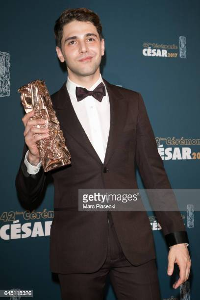 Director Xavier Dolan poses with his award at the Cesar Film Awards 2016 at Salle Pleyel on February 24 2017 in Paris France