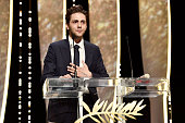 Director Xavier Dolan talks on stage after being awarded with The Grand Prix for the movie 'Just the end of the world' during the Closing Ceremony at...