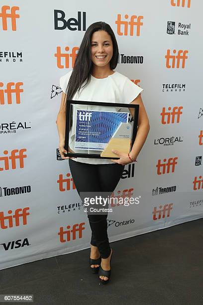 Director Yanillys Perez receives the Dropbox Discovery Program Filmmakers Award for 'Jeffrey' at the 2016 TIFF Awards Ceremony at TIFF Bell Lightbox...
