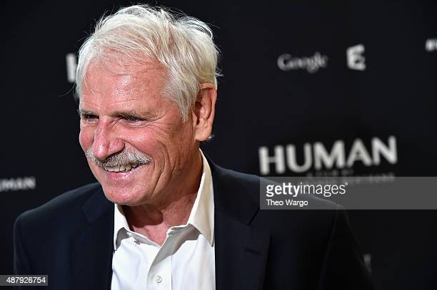 Director Yann ArthusBertrand attends the global screening of the film 'Human' at the United Nations General Assembly Hall on September 12 2015 in New...