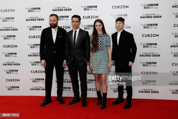 Director Yorgos Lanthimos actors Colin Farrell Barry Keoghan and Raffey Cassidy attend the Headline Gala Screening UK Premiere of 'Killing of a...