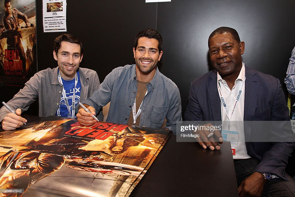 Director Zach Lipovsky Jesse Metcalfe and Dennis Haysbert attend Crackle's 'Dead Rising Watchtower' signing at the Capcom Booth during Wondercon on...