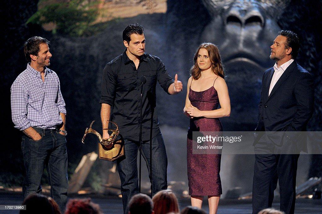 Director Zack Snyder and actors Henry Cavill, Amy Adams, and Russell Crowe speak onstage during Spike TV's Guys Choice 2013 at Sony Pictures Studios on June 8, 2013 in Culver City, California.