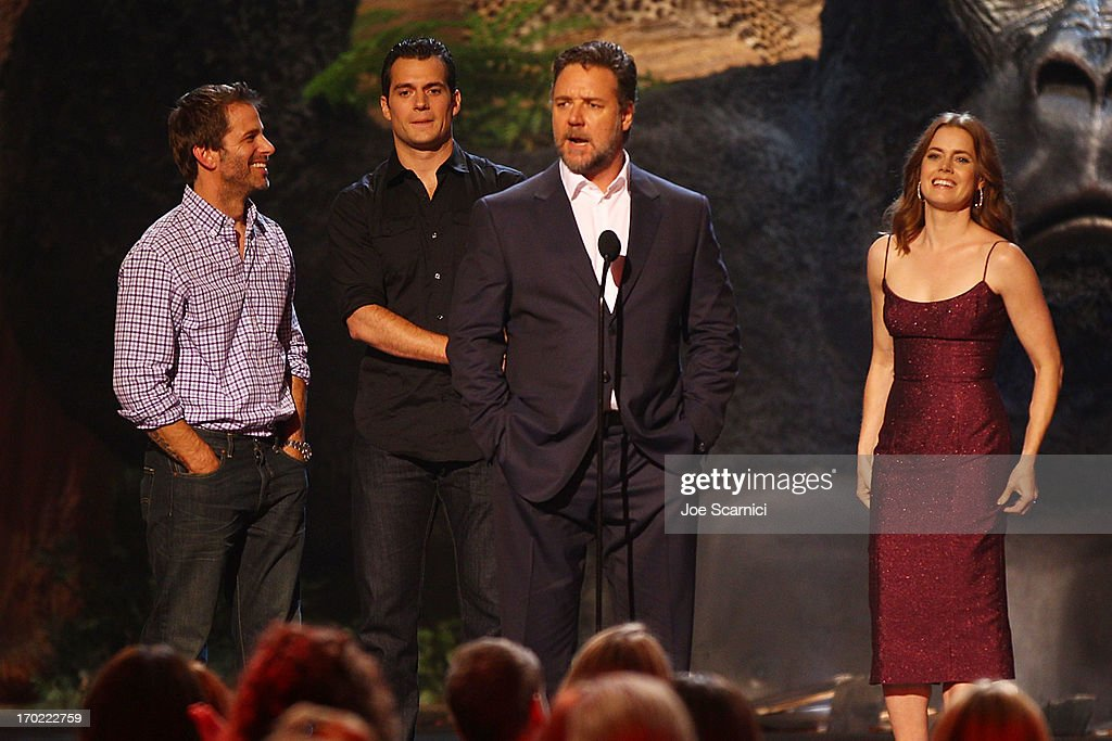 Director Zack Snyder and actors Henry Cavill, Russell Crowe and Amy Adams speak onstage during 2013 Spike TV 'Guys Choice' - Show at Sony Pictures Studios on June 8, 2013 in Culver City, California.