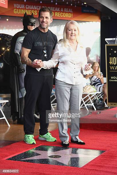 Director Zack Snyder and Elizabeth Sanders attend a ceremony honoring artist Bob Kane wtih a Star on The Hollywood Walk Of Fame on October 21 2015 in...