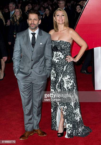 Director Zack Snyder and Producer Deborah Snyder arrive for the European Premiere of 'Batman V Superman Dawn Of Justice' at Odeon Leicester Square on...