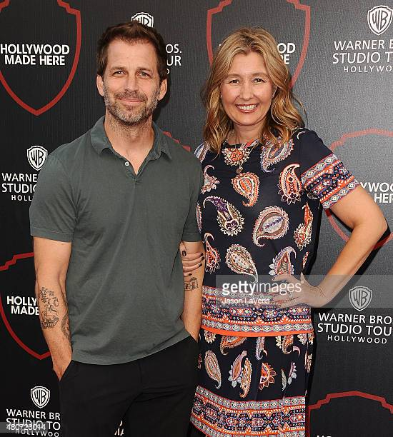 Director Zack Snyder and producer Deborah Snyder attend the unveiling of Warner Bros Studio expansion at Warner Bros Studios on July 14 2015 in...