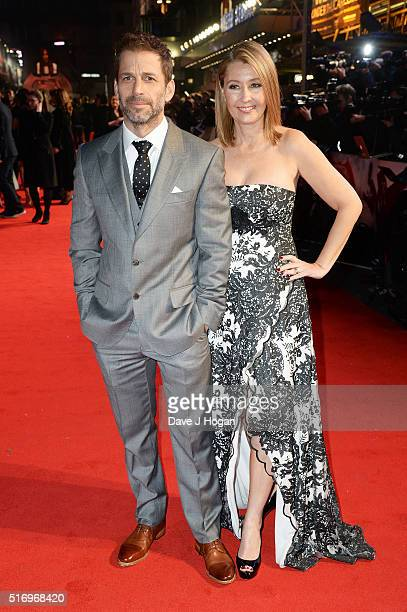 Director Zack Snyder and wife Deborah Snyder attend the European Premiere of 'Batman V Superman Dawn Of Justice' at Odeon Leicester Square on March...