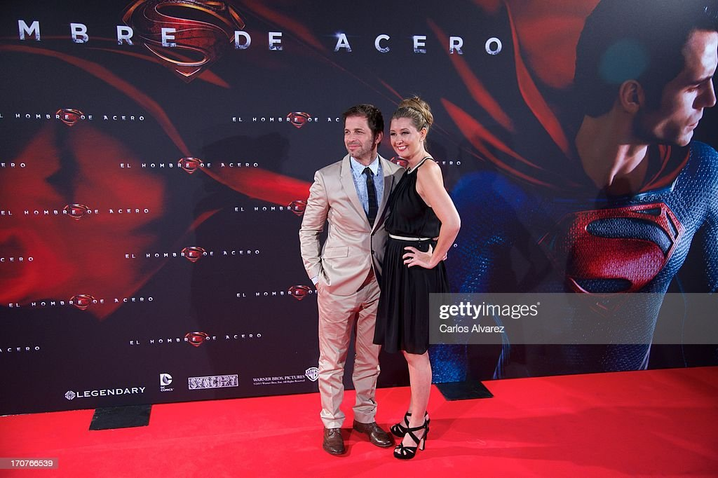 Director <a gi-track='captionPersonalityLinkClicked' href=/galleries/search?phrase=Zack+Snyder&family=editorial&specificpeople=834481 ng-click='$event.stopPropagation()'>Zack Snyder</a> and wife producer Deborah Snyder attend the 'Man of Steel' (El Hombre de Acero) premiere at the Capitol cinema on June 17, 2013 in Madrid, Spain.