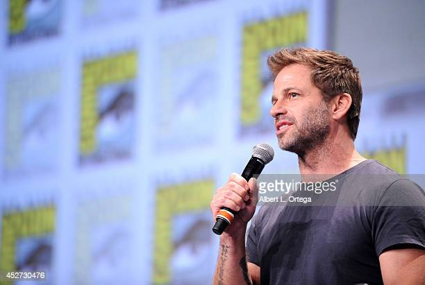 Director Zack Snyder attends the Warner Bros Pictures panel and presentation during ComicCon International 2014 at San Diego Convention Center on...
