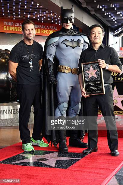 Director Zack Snyder Batman and artist Jim Lee attend a ceremony honoring artist Bob Kane wtih a Star on The Hollywood Walk Of Fame on October 21...
