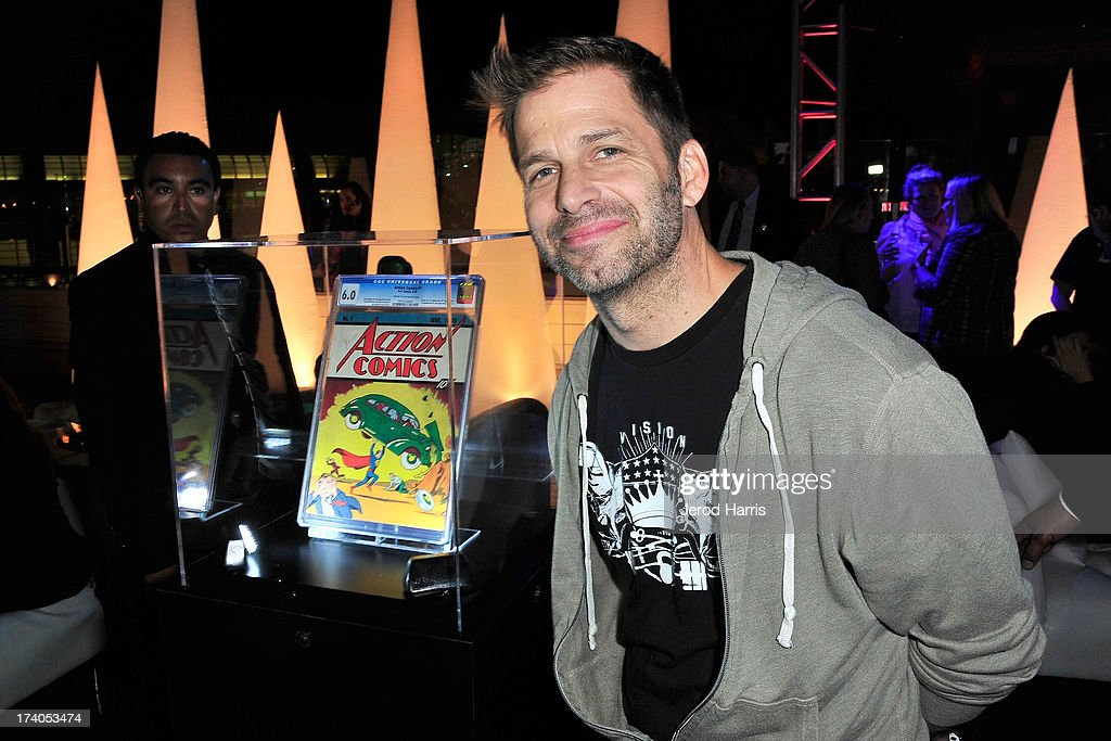 Director <a gi-track='captionPersonalityLinkClicked' href=/galleries/search?phrase=Zack+Snyder&family=editorial&specificpeople=834481 ng-click='$event.stopPropagation()'>Zack Snyder</a> poses in front of Action Comics issue #1 at DC Entertainment and Warner Bros. host Superman 75 party at San Diego Comic-Con at Hard Rock Hotel San Diego on July 19, 2013 in San Diego, California. Guests at the Superman 75 celebration Friday night at the Hard Rock Hotel's Float Bar in downtown San Diego were given a rare treat, an audience with the comic book that started it all – Action Comics #1. The issue was loaned to DC Entertainment by White Stripes front man Jack White as part of the tribute to 75 years of the Superman character.