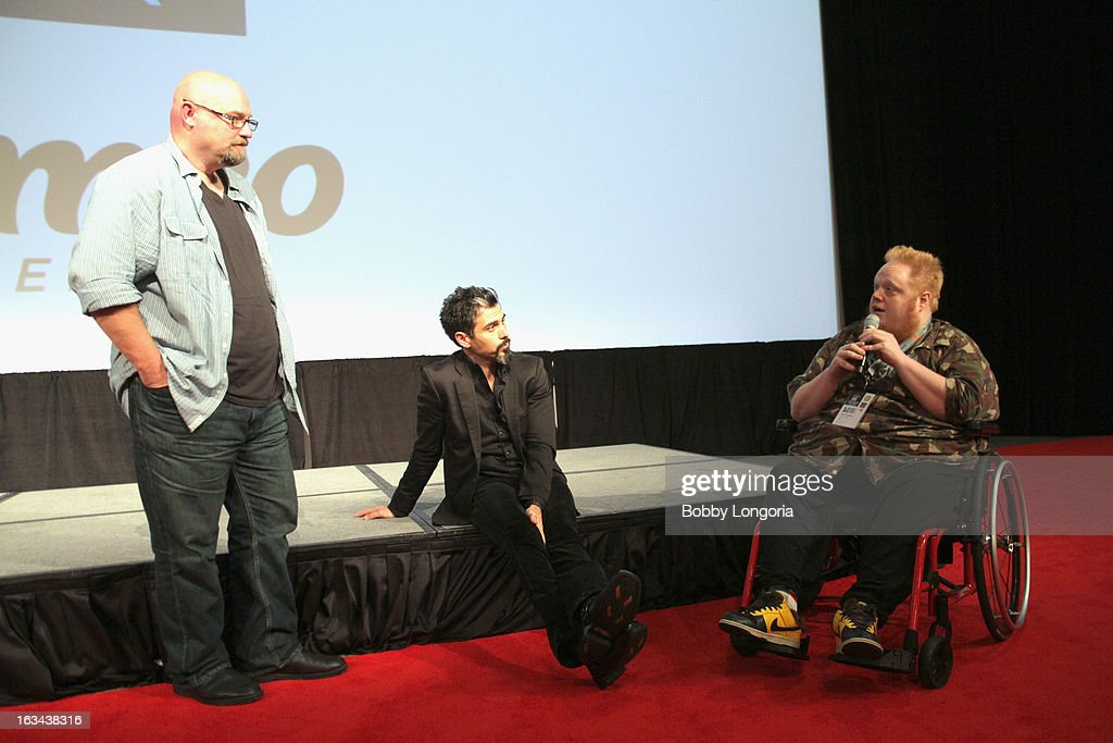 Director Zak Knutson, producer Joey Figueroa and film critic Harry Knowles speak onstage at 'Milius' Q&A during the 2013 SXSW Music, Film + Interactive Festival at Austin Convention Center on March 9, 2013 in Austin, Texas.