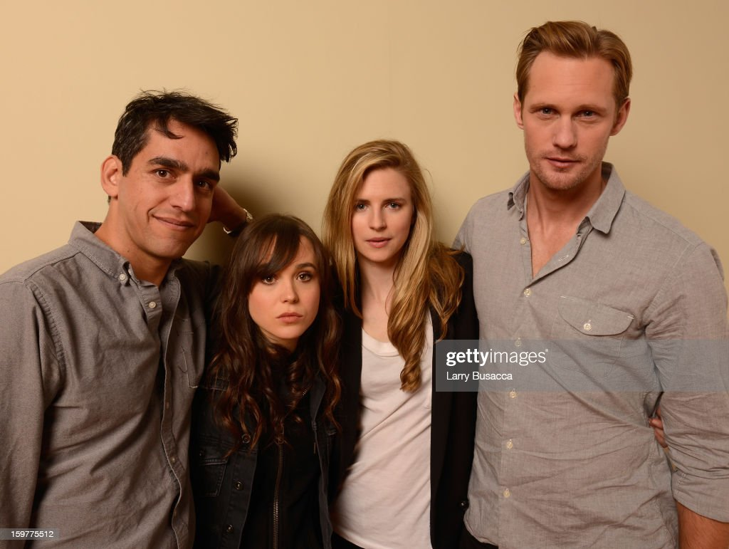 Director Zal Batmanglij, actors Ellen Page, Brit Marling and Alexander Skarsgard pose for a portrait during the 2013 Sundance Film Festival at the Getty Images Portrait Studio at Village at the Lift on January 20, 2013 in Park City, Utah.