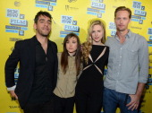 Director Zal Batmanglij actress Ellen Page actress Britt Marling and actor Alexander Skarsgard attend the premiere of 'The East' during the 2013 SXSW...