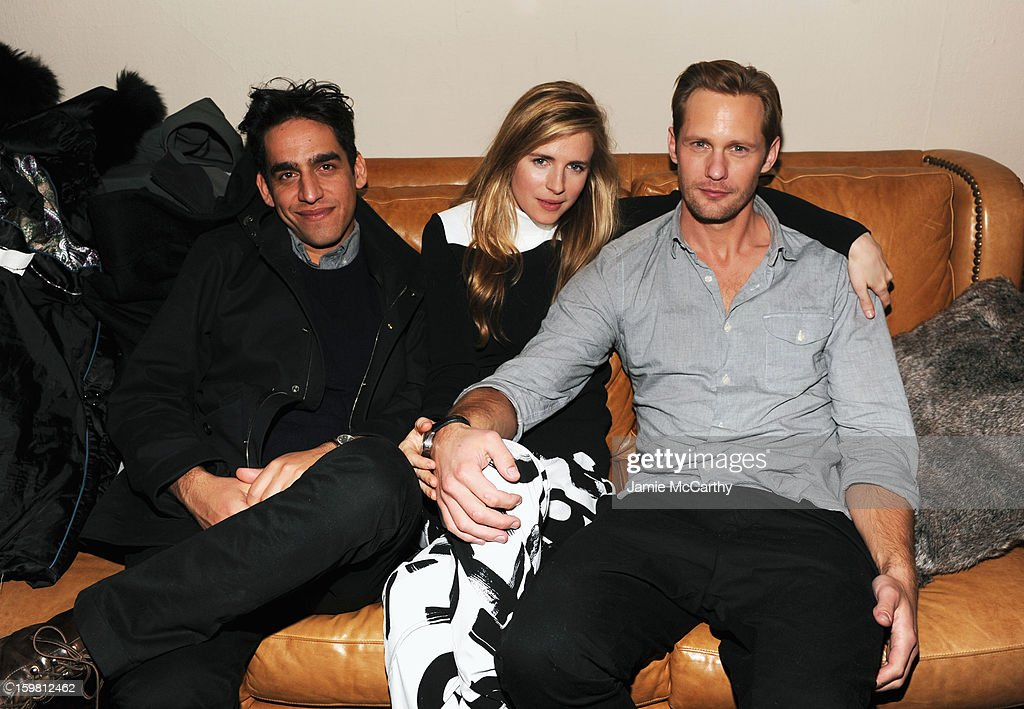 Director Zal Batmanglij and actors <a gi-track='captionPersonalityLinkClicked' href=/galleries/search?phrase=Brit+Marling&family=editorial&specificpeople=701867 ng-click='$event.stopPropagation()'>Brit Marling</a> and Alexander Skarsgard attend the Grey Goose Blue Door party for Fox Searchlight Pictures 'Stocker' and 'The East' on January 20, 2013 in Park City, Utah.