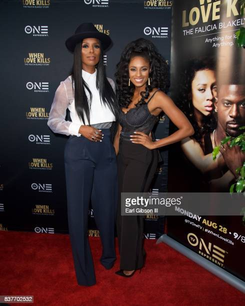 Director/actess Tasha Smith and actress Tiffany Black attend the Premiere Of TV One's 'When Love Kills' at Harmony Gold on August 22 2017 in Los...