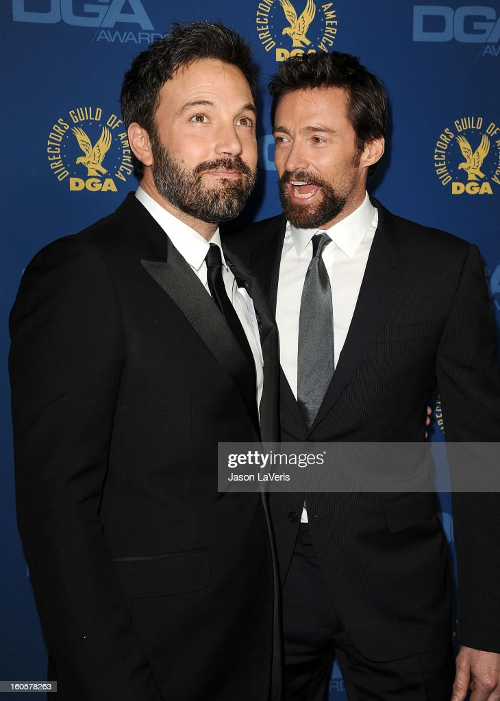 Director/actor <a gi-track='captionPersonalityLinkClicked' href=/galleries/search?phrase=Ben+Affleck&family=editorial&specificpeople=201856 ng-click='$event.stopPropagation()'>Ben Affleck</a> and actor <a gi-track='captionPersonalityLinkClicked' href=/galleries/search?phrase=Hugh+Jackman&family=editorial&specificpeople=202499 ng-click='$event.stopPropagation()'>Hugh Jackman</a> attend the 65th annual Directors Guild Of America Awards at The Ray Dolby Ballroom at Hollywood & Highland Center on February 2, 2013 in Hollywood, California.