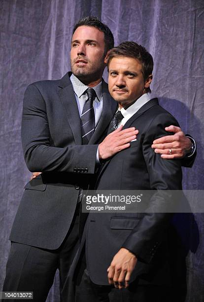 Director/actor Ben Affleck and actor Jeremy Renner walk onstage at 'The Town' Premiere introduction held at Roy Thomson Hall during the 35th Toronto...
