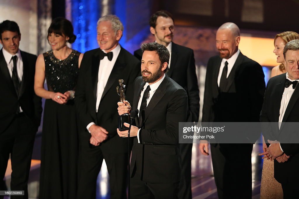 Director/Actor Ben Affleck (C) speaks onstage at the 19th Annual Screen Actors Guild Awards at The Shrine Auditorium on January 27, 2013 in Los Angeles, California. (Photo by Christopher Polk/WireImage) 23116_012_2072.JPG