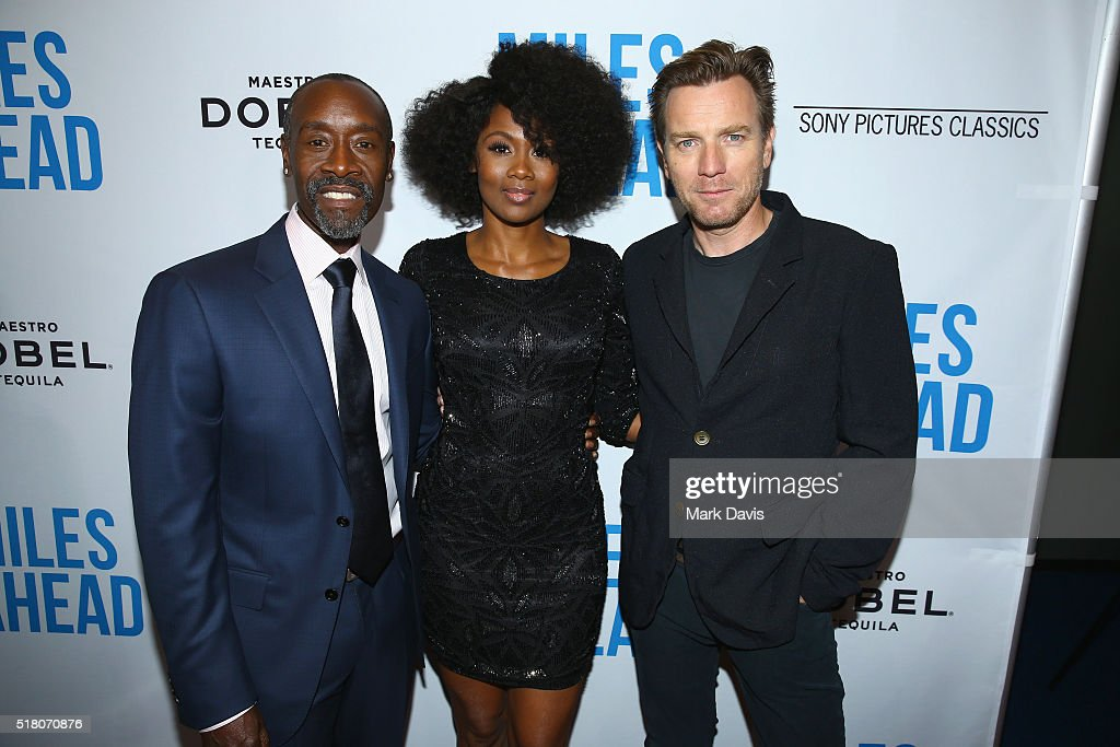 Director/actor Don Cheadle, actress Emayatzy Corinealdi and actor Ewan McGregor attend the premiere of Sony Pictures Classics' 'Miles Ahead' at Writers Guild Theater on March 29, 2016 in Beverly Hills, California.