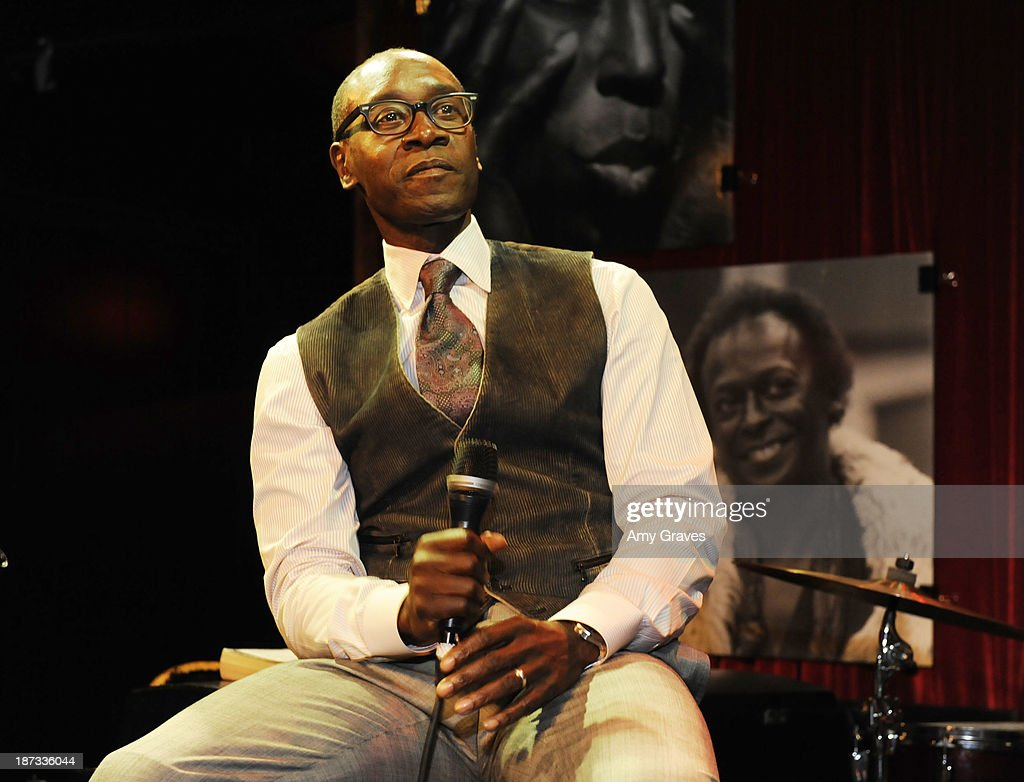 Director/Actor <a gi-track='captionPersonalityLinkClicked' href=/galleries/search?phrase=Don+Cheadle&family=editorial&specificpeople=202096 ng-click='$event.stopPropagation()'>Don Cheadle</a> addresses the audience at the IM Global/UTA Reception for 'Kill The Trumpet Player' on November 7, 2013 in Santa Monica, California.