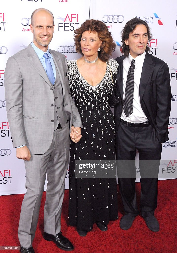 Director/actor Edoardo Ponti, actress Sophia Loren and conductor Carlo Ponti Jr. arrive at AFI FEST 2014 Presented By Audi - A Special Tribute To Sophia Loren at Dolby Theatre on November 12, 2014 in Hollywood, California.