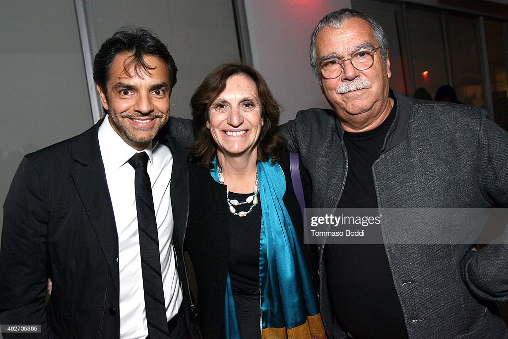 Director/Actor Eugenio Derbez Italian correspondent Silvia Bizio and composer Carlo Siliotto attend the 'Instructions Not Included' screening and...