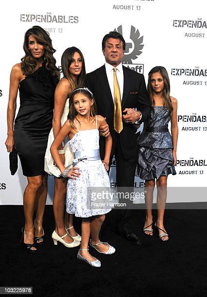 Director/actor Sylvester Stallone with his wife Jennifer Flavin and daughters Sophia Scarlet and Sistine arrives at the Premiere Of Lionsgate Films'...