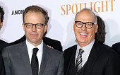 Director/actor Thomas McCarthy and actor Michael Keaton attend the 'Spotlight' New York premiere at Ziegfeld Theater on October 27 2015 in New York...