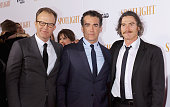 Director/actor Thomas McCarthy and actors Brian d'Arcy James and Billy Crudup attend the 'Spotlight' New York premiere at Ziegfeld Theater on October...