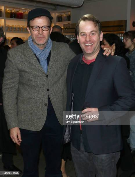 Director/actor Tom McCarthy and comedian Mike Birbiglia attend the Metrograph 1st year anniversary party at Metrograph on March 8 2017 in New York...