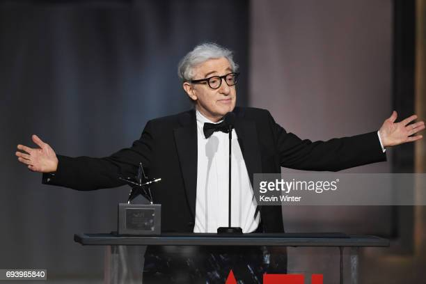 Directoractor Woody Allen speaks onstage during American Film Institute's 45th Life Achievement Award Gala Tribute to Diane Keaton at Dolby Theatre...