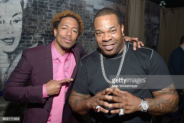 Director/Actor/Producer Nick Cannon and musician Busta Rhymes attends the 'King of the Dancehall' premiere screening party presented by Ciroc during...