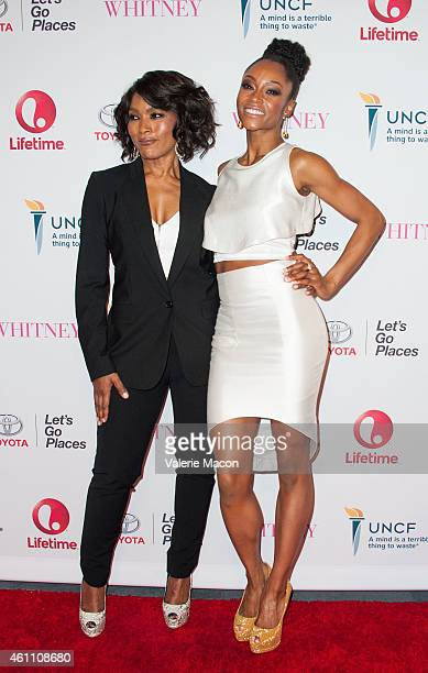Director/actress Angela Bassett and actress Yaya DaCosta arrive at the Premiere Of Lifetime's 'Whitney' at The Paley Center for Media on January 6...