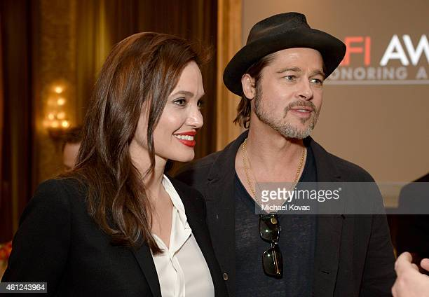 Director/actress Angelina Jolie and actor/producer Brad Pitt attends the 15th Annual AFI Awards Luncheon at Four Seasons Hotel Los Angeles at Beverly...