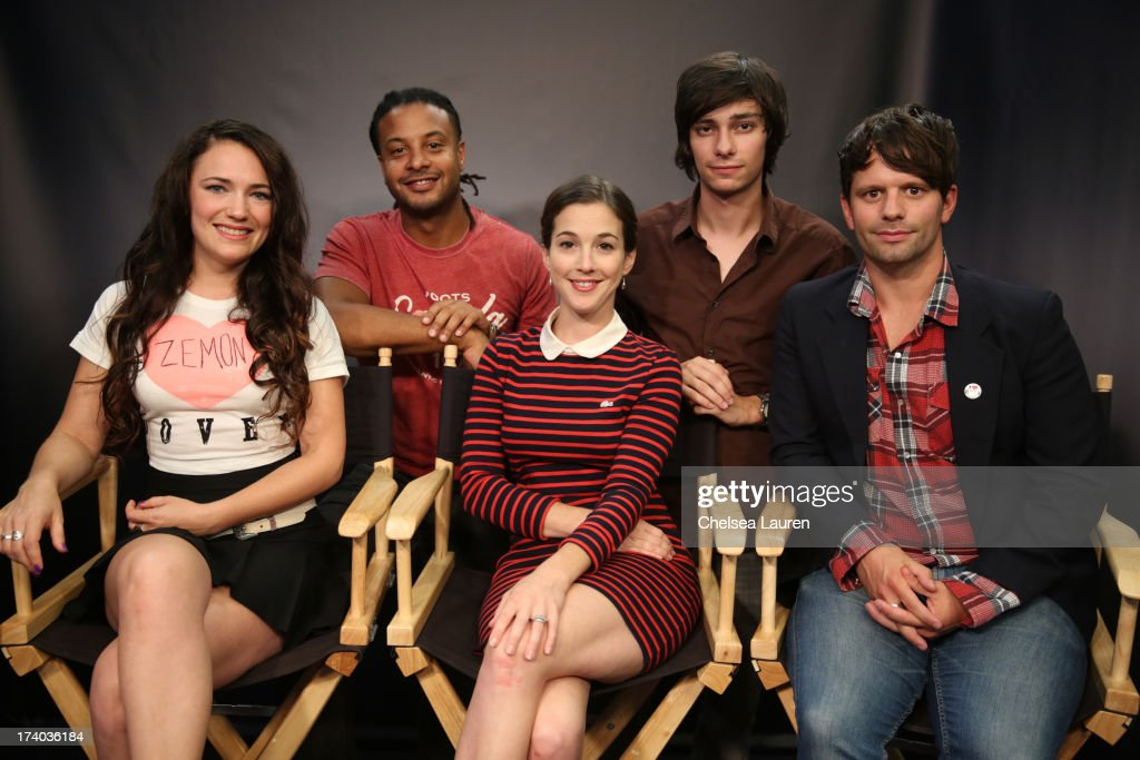 Director/actress April Mullen, actors Brandon Jay McLaren, Martha MacIsaac, Devon Bostick, and writer Tim Doiron attend the 'Dead Before Dawn 3D' at the Movies On Demand Lounge during Comic-Con International 2013 at Hard Rock Hotel San Diego on July 19, 2013 in San Diego, California.