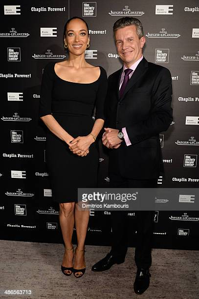 Director/actress Carmen Chaplin and JaegerLeCoultre CEO Daniel Riedo attend the Charlie Chaplin 'Chaplin Forever' exhibition hosted by...