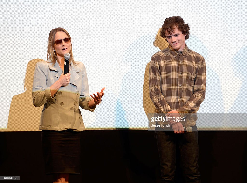 Director/actress Jodie Foster and actor Anton Yelchin speak onstage at the 2011 SXSW Music Film Interactive Festival 'The Beaver' Premiere at...