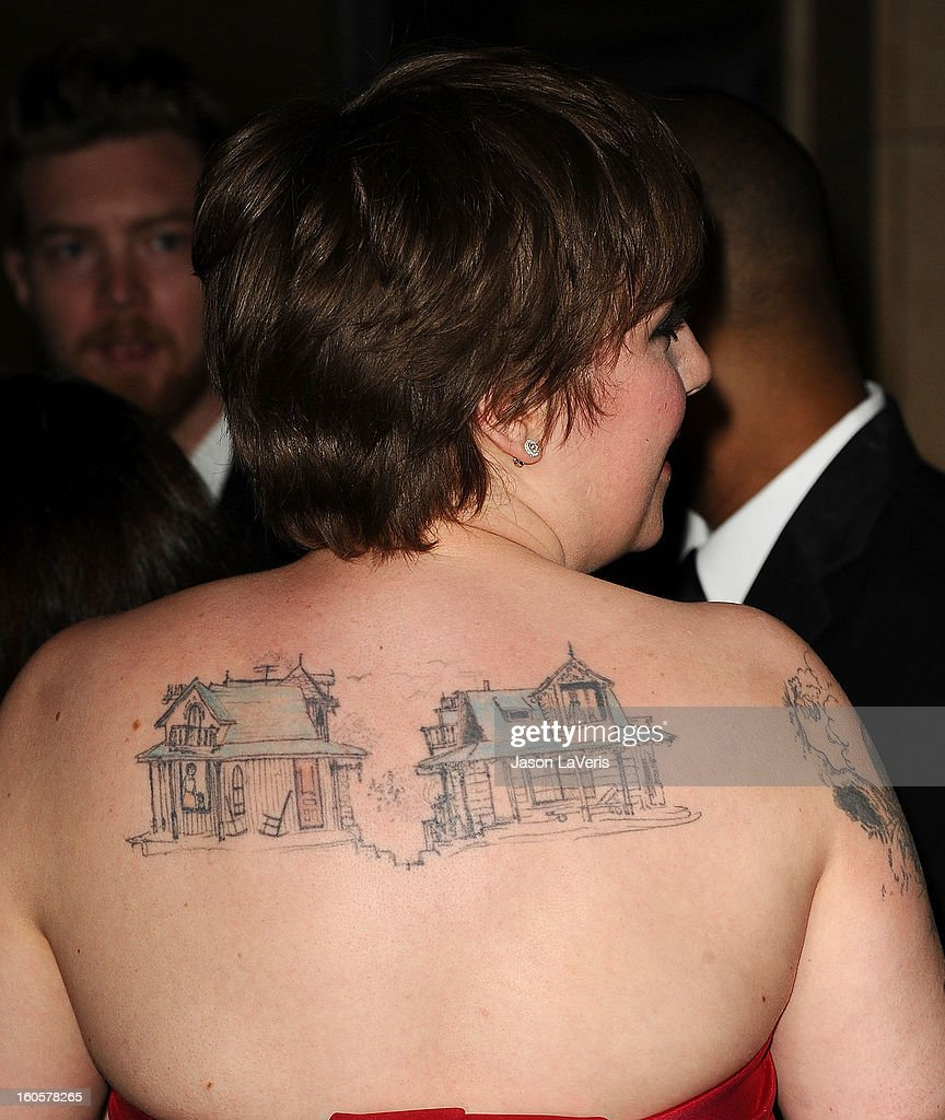 Director/actress Lena Dunham (tattoo detail) attends the 65th annual Directors Guild Of America Awards at The Ray Dolby Ballroom at Hollywood & Highland Center on February 2, 2013 in Hollywood, California.