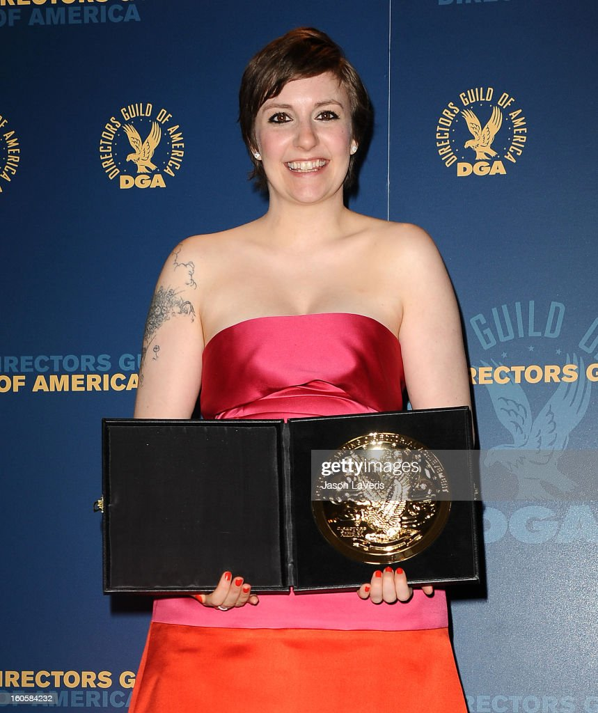 Director/actress <a gi-track='captionPersonalityLinkClicked' href=/galleries/search?phrase=Lena+Dunham&family=editorial&specificpeople=5836535 ng-click='$event.stopPropagation()'>Lena Dunham</a> poses in the press room at the 65th annual Directors Guild Of America Awards at The Ray Dolby Ballroom at Hollywood & Highland Center on February 2, 2013 in Hollywood, California.