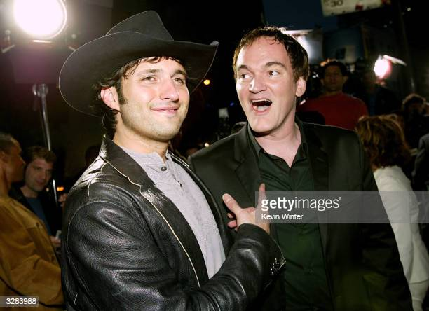 Director/composer Robert Rodriquez and director Quentin Tarantino attends the Miramax Feature film premiere of 'Kill Bill Vol II' at the Arclight's...