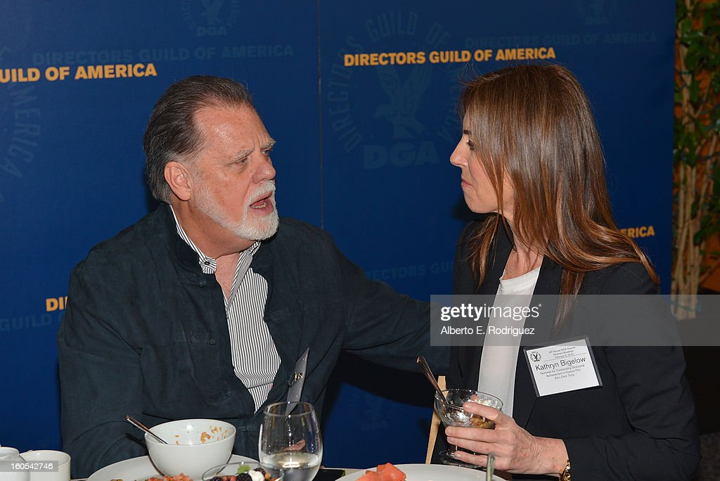 Director/DGA President <a gi-track='captionPersonalityLinkClicked' href=/galleries/search?phrase=Taylor+Hackford&family=editorial&specificpeople=202623 ng-click='$event.stopPropagation()'>Taylor Hackford</a> and Director <a gi-track='captionPersonalityLinkClicked' href=/galleries/search?phrase=Kathryn+Bigelow&family=editorial&specificpeople=1278119 ng-click='$event.stopPropagation()'>Kathryn Bigelow</a> attend the 65th Annual Directors Guild of America Awards President's Breakfast held at the DGA on February 2, 2013 in Los Angeles, California.