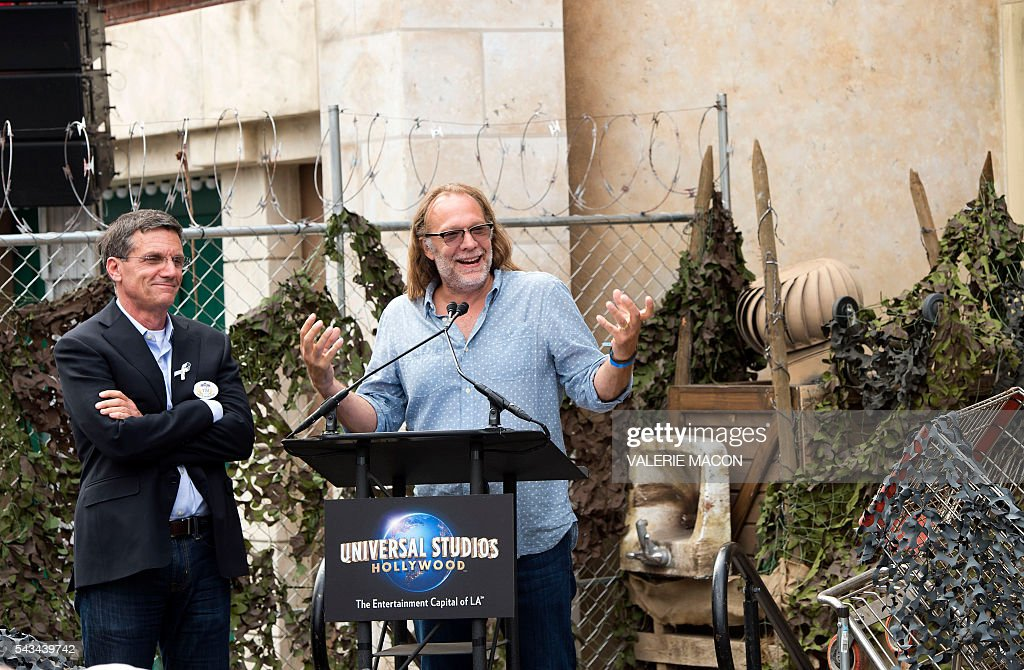 Director/Executive Producer Gregory Nicotero speaks at the Universal Studios Hollywood Opening of its New Permanent Daytime Attraction 'The Walking Dead' in Universal City, California on June 28, 2016. / AFP / VALERIE