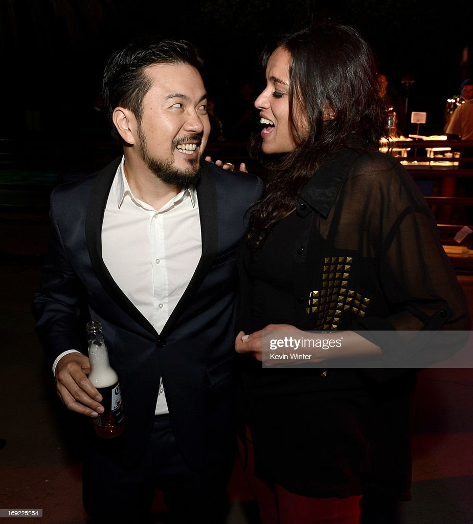 Director/executive producer <a gi-track='captionPersonalityLinkClicked' href=/galleries/search?phrase=Justin+Lin&family=editorial&specificpeople=593881 ng-click='$event.stopPropagation()'>Justin Lin</a> (L) and actress <a gi-track='captionPersonalityLinkClicked' href=/galleries/search?phrase=Michelle+Rodriguez&family=editorial&specificpeople=206182 ng-click='$event.stopPropagation()'>Michelle Rodriguez</a> pose at the after party for the premiere of Universal Pictures' 'Fast & Furious 6' at the Gibson Amphitheatre on May 21, 2013 in Universal City, California.