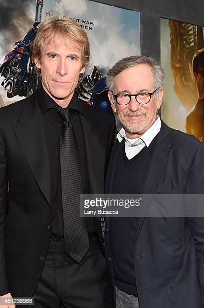 Director/executive producer Michael Bay and executive producer Steven Spielberg attend the New York Premiere of 'Transformers Age Of Extinction' at...